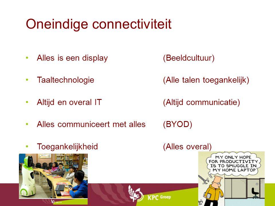 Oneindige connectiviteit Alles is een display (Beeldcultuur) Taaltechnologie(Alle talen toegankelijk) Altijd en overal IT(Altijd communicatie) Alles communiceert met alles(BYOD) Toegankelijkheid(Alles overal)