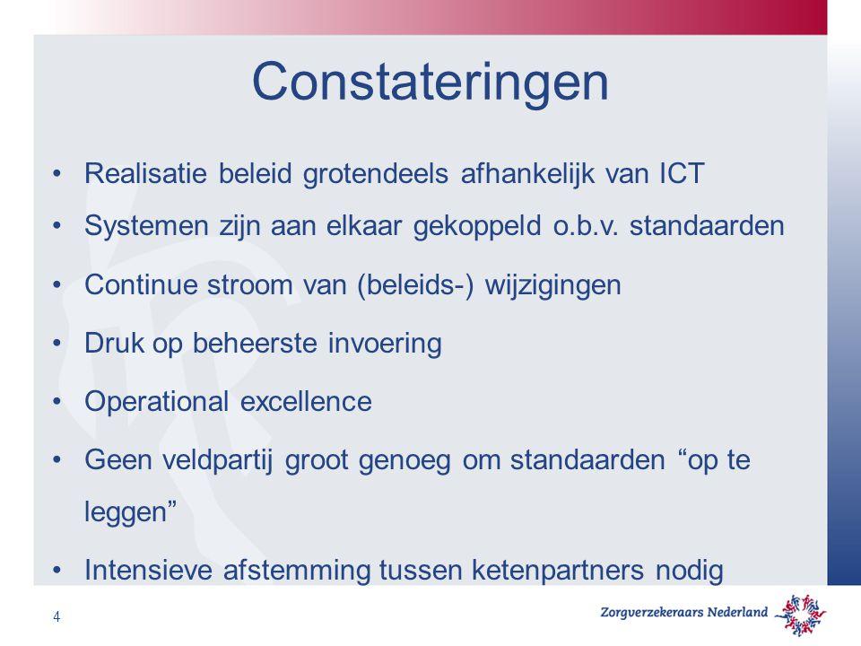 Constateringen Realisatie beleid grotendeels afhankelijk van ICT Systemen zijn aan elkaar gekoppeld o.b.v. standaarden Continue stroom van (beleids-)
