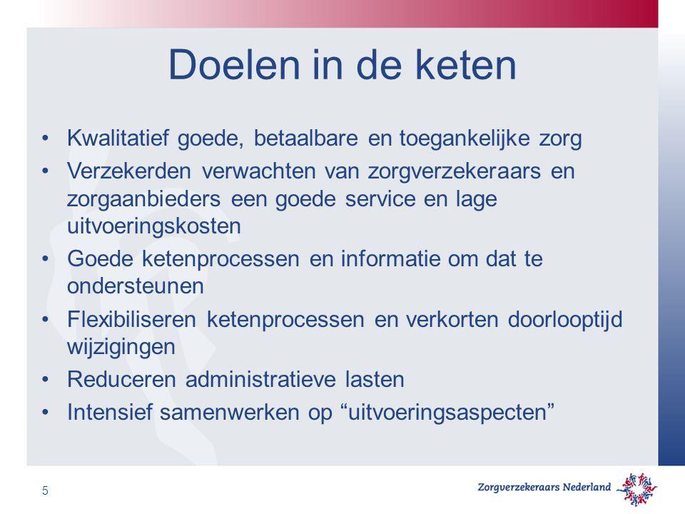 Doelen in de keten Kwalitatief goede, betaalbare en toegankelijke zorg Verzekerden verwachten van zorgverzekeraars en zorgaanbieders een goede service