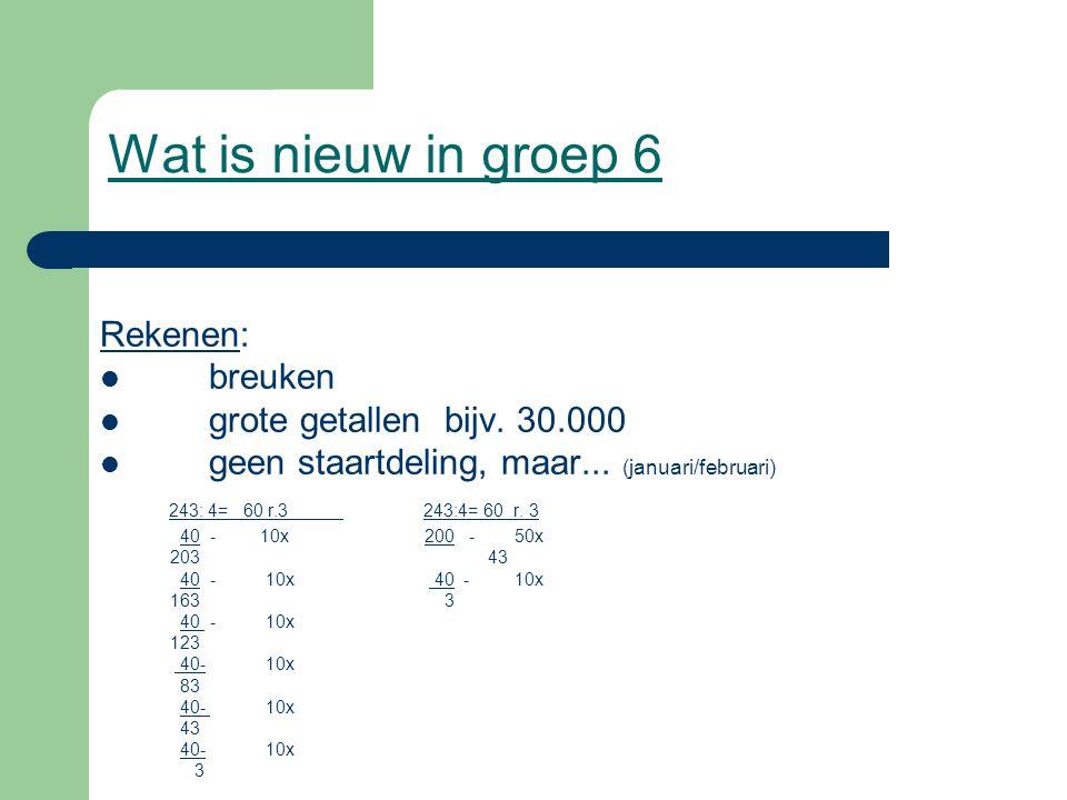 Wat is nieuw in groep 6 Rekenen: breuken grote getallen bijv. 30.000 geen staartdeling, maar... (januari/februari) 243: 4= 60 r.3 243:4= 60 r. 3 40 -