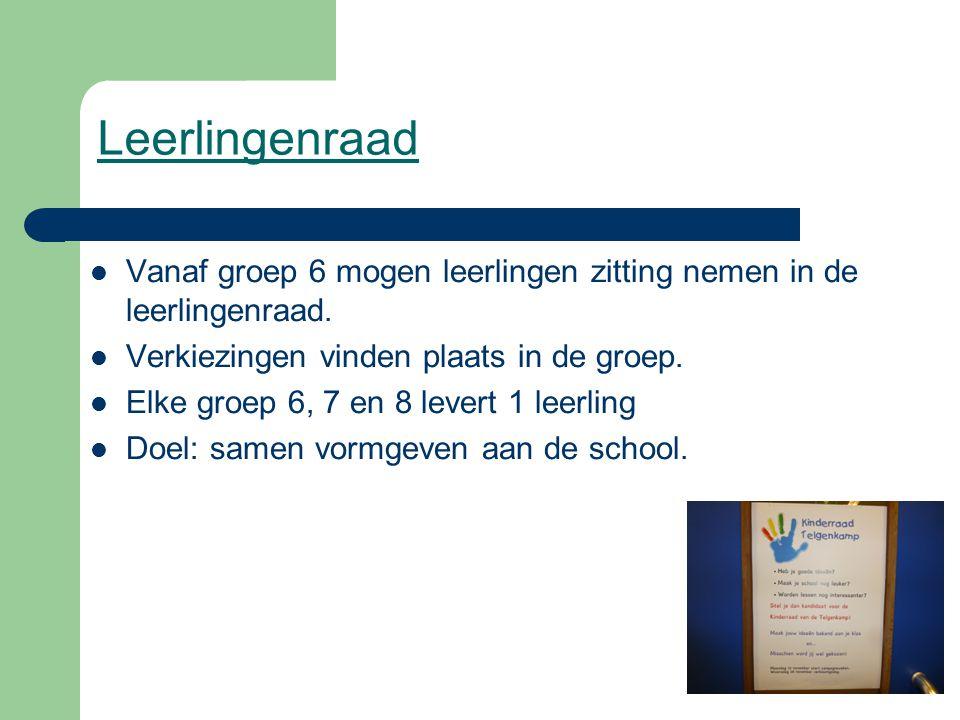 Leerlingenraad Vanaf groep 6 mogen leerlingen zitting nemen in de leerlingenraad. Verkiezingen vinden plaats in de groep. Elke groep 6, 7 en 8 levert