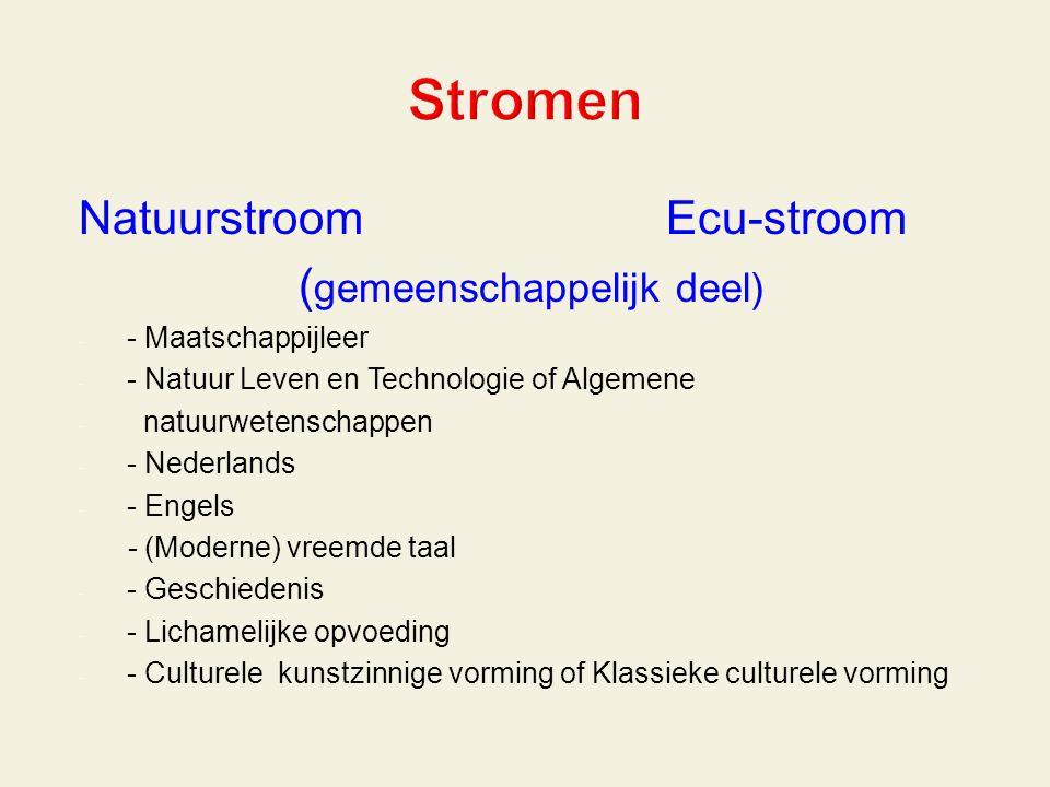 Natuurstroom Ecu-stroom ( gemeenschappelijk deel) - - Maatschappijleer - - Natuur Leven en Technologie of Algemene - natuurwetenschappen - - Nederlands - - Engels - (Moderne) vreemde taal - - Geschiedenis - - Lichamelijke opvoeding - - Culturele kunstzinnige vorming of Klassieke culturele vorming