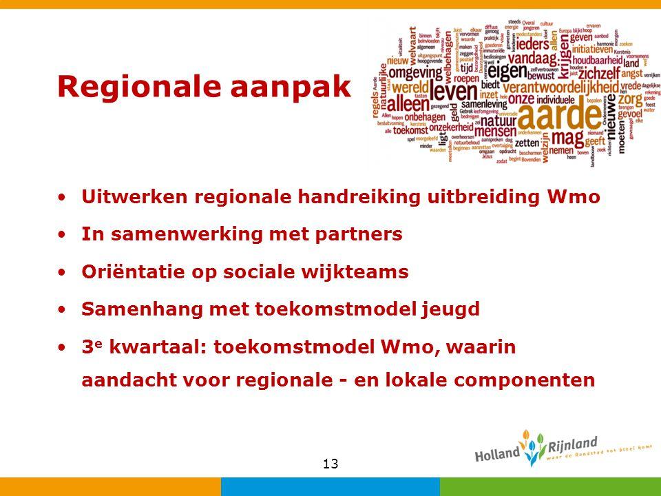Regionale aanpak Uitwerken regionale handreiking uitbreiding Wmo In samenwerking met partners Oriëntatie op sociale wijkteams Samenhang met toekomstmodel jeugd 3 e kwartaal: toekomstmodel Wmo, waarin aandacht voor regionale - en lokale componenten 13