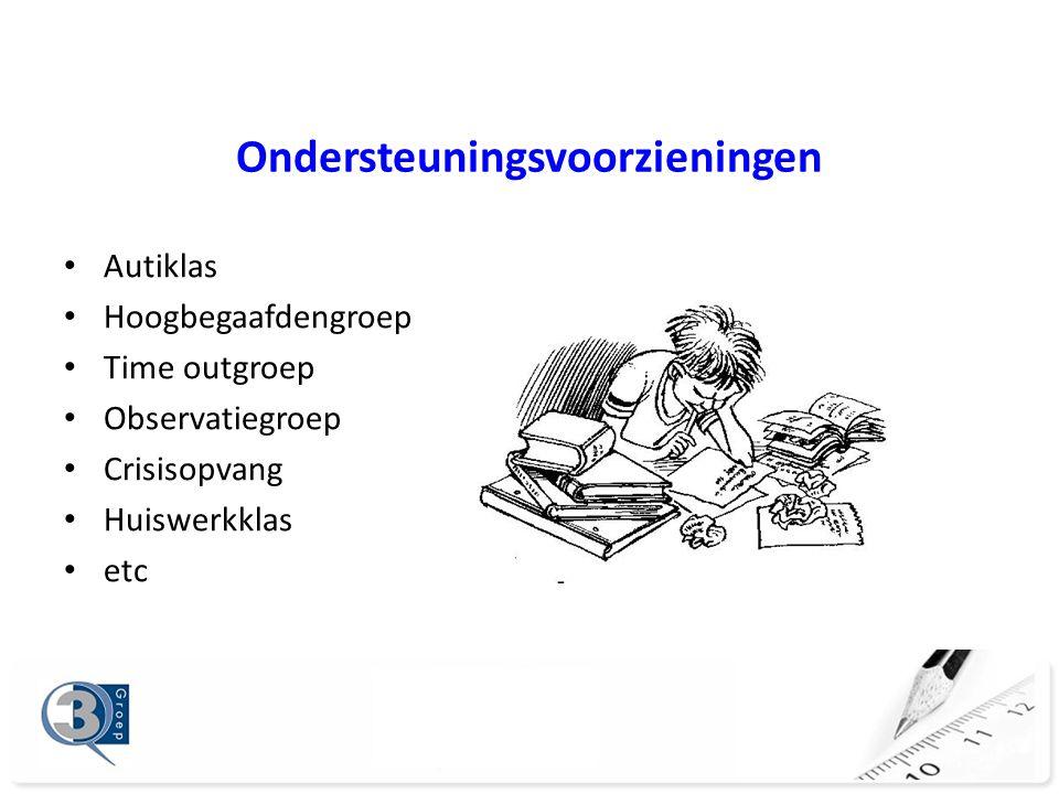 Ondersteuningsvoorzieningen Autiklas Hoogbegaafdengroep Time outgroep Observatiegroep Crisisopvang Huiswerkklas etc