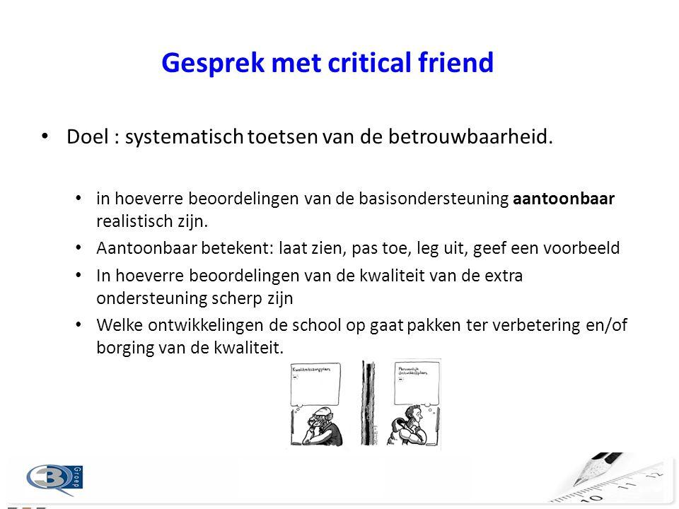 Gesprek met critical friend Doel : systematisch toetsen van de betrouwbaarheid.