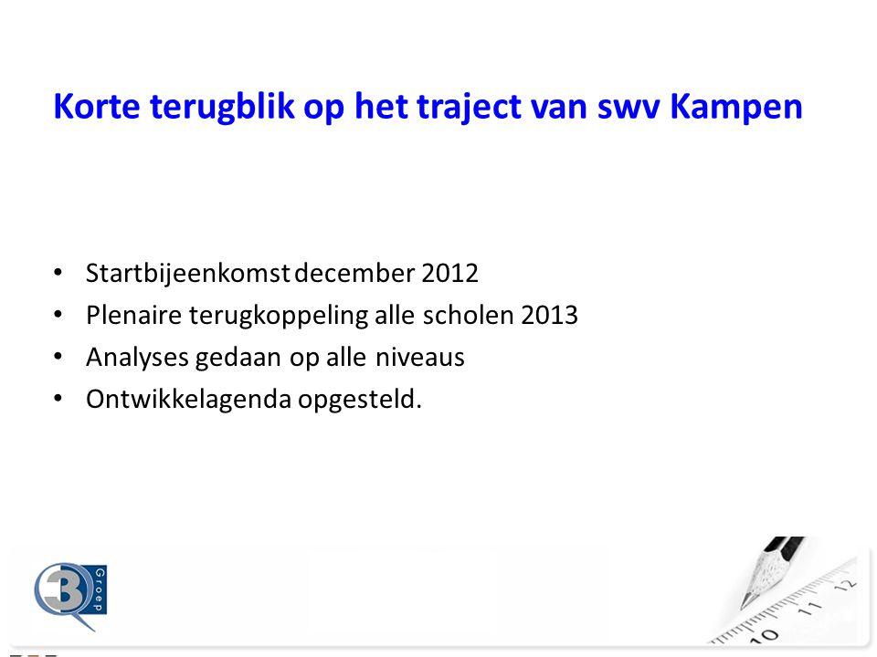 Startbijeenkomst december 2012 Plenaire terugkoppeling alle scholen 2013 Analyses gedaan op alle niveaus Ontwikkelagenda opgesteld.