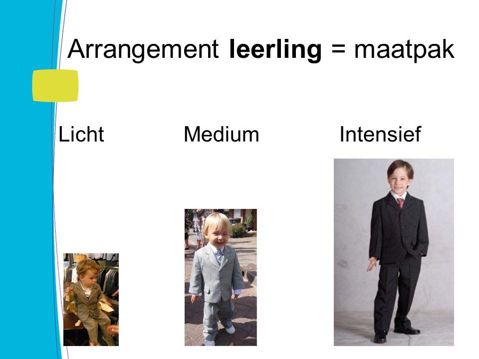 Arrangement leerling = maatpak Licht Medium Intensief