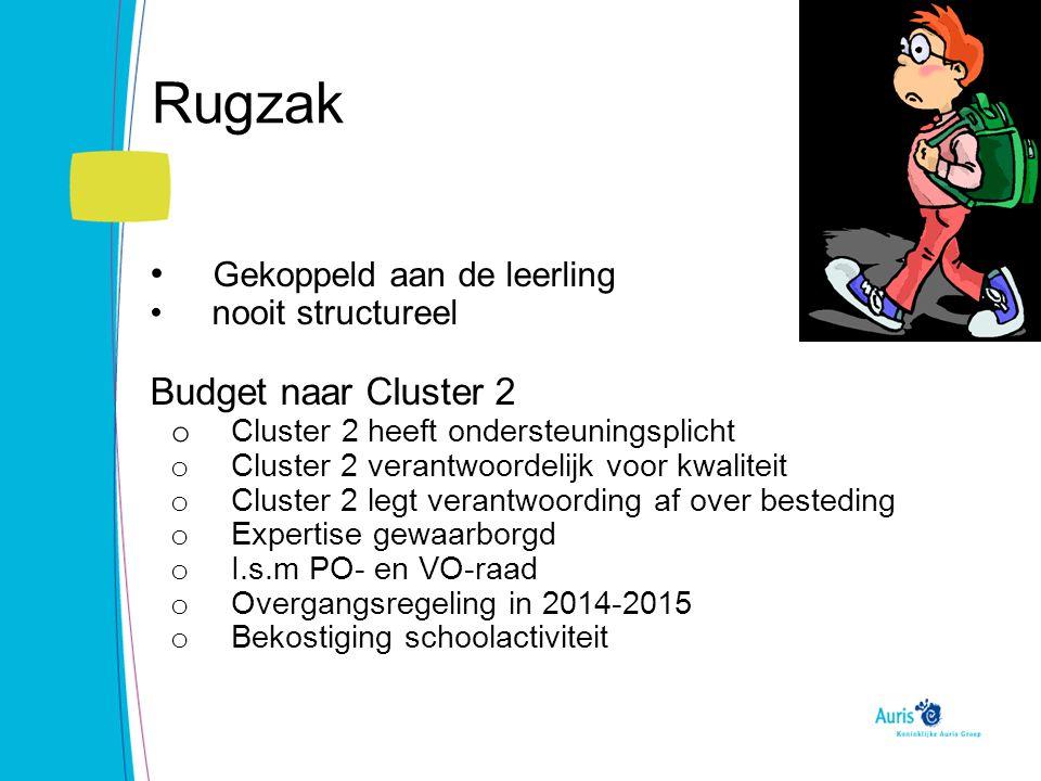 Rugzak Gekoppeld aan de leerling nooit structureel Budget naar Cluster 2 o Cluster 2 heeft ondersteuningsplicht o Cluster 2 verantwoordelijk voor kwal