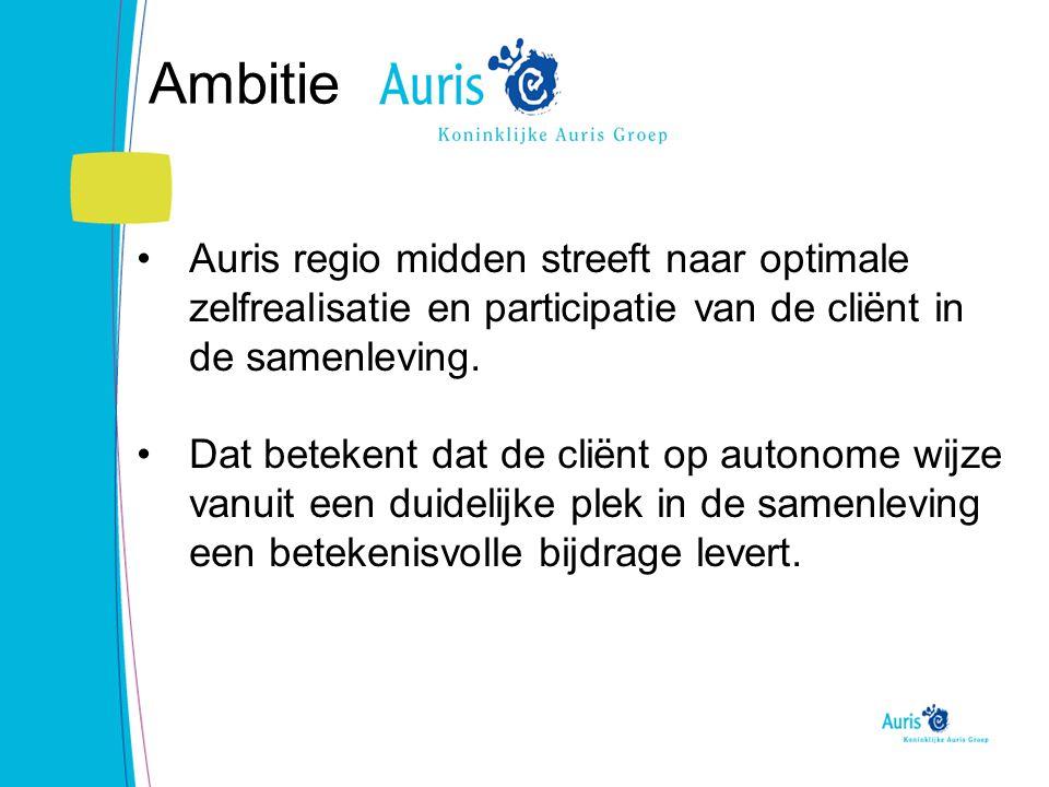 Ambitie Auris regio midden streeft naar optimale zelfrealisatie en participatie van de cliënt in de samenleving.