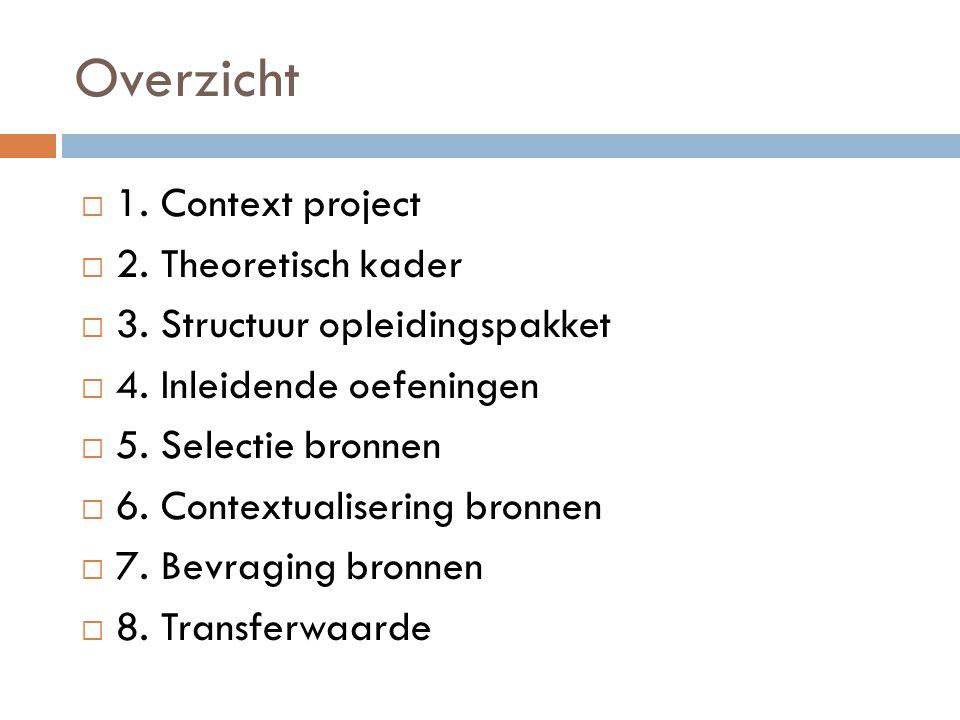 Overzicht  1. Context project  2. Theoretisch kader  3. Structuur opleidingspakket  4. Inleidende oefeningen  5. Selectie bronnen  6. Contextual