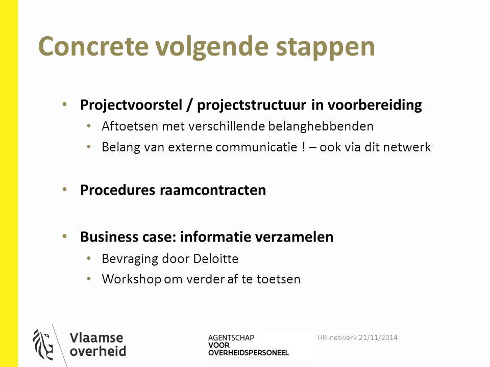 Concrete volgende stappen Projectvoorstel / projectstructuur in voorbereiding Aftoetsen met verschillende belanghebbenden Belang van externe communicatie .