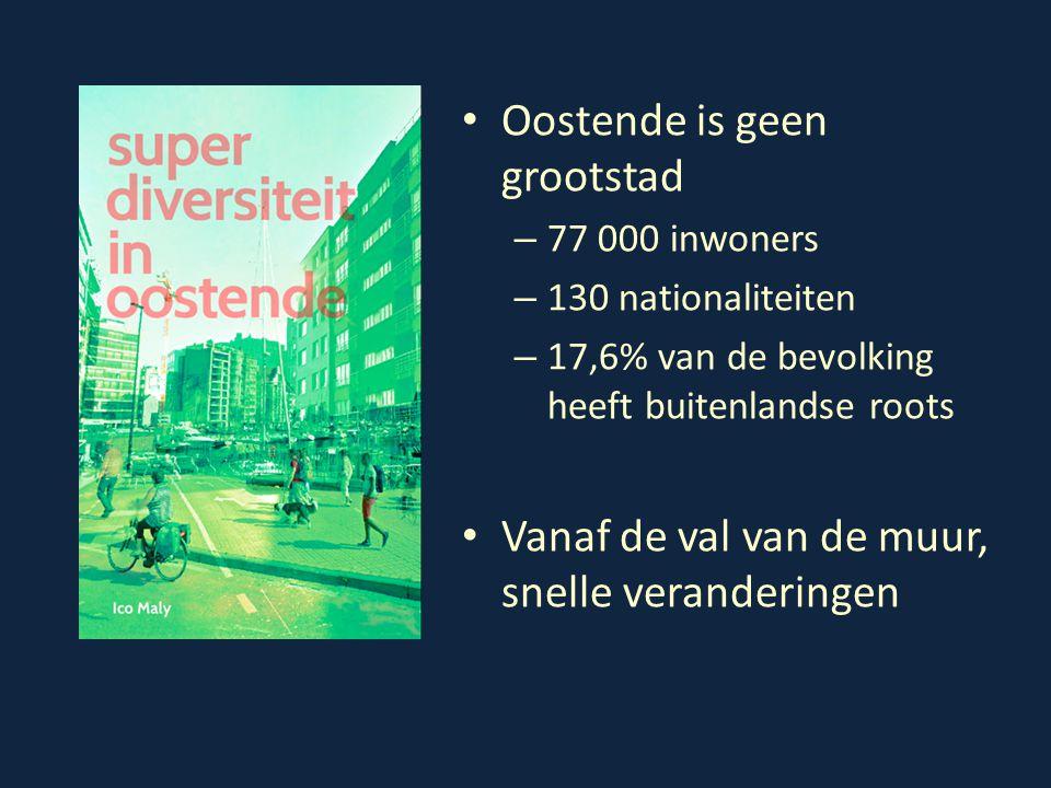 Oostende is geen grootstad – 77 000 inwoners – 130 nationaliteiten – 17,6% van de bevolking heeft buitenlandse roots Vanaf de val van de muur, snelle