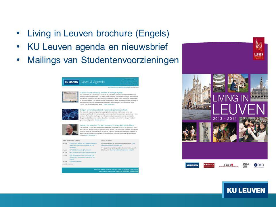 Living in Leuven brochure (Engels) KU Leuven agenda en nieuwsbrief Mailings van Studentenvoorzieningen