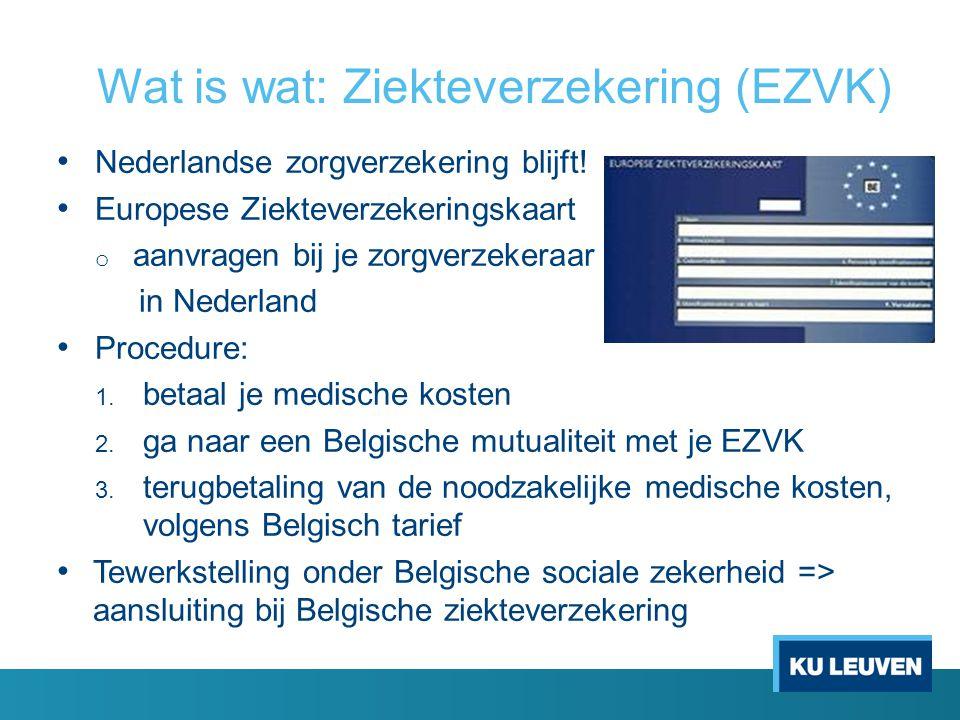 Wat is wat: Ziekteverzekering (EZVK) Nederlandse zorgverzekering blijft! Europese Ziekteverzekeringskaart o aanvragen bij je zorgverzekeraar in Nederl
