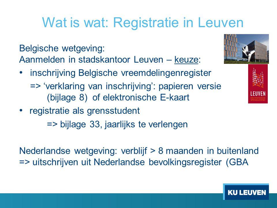 Belgische wetgeving: Aanmelden in stadskantoor Leuven – keuze: inschrijving Belgische vreemdelingenregister => 'verklaring van inschrijving': papieren