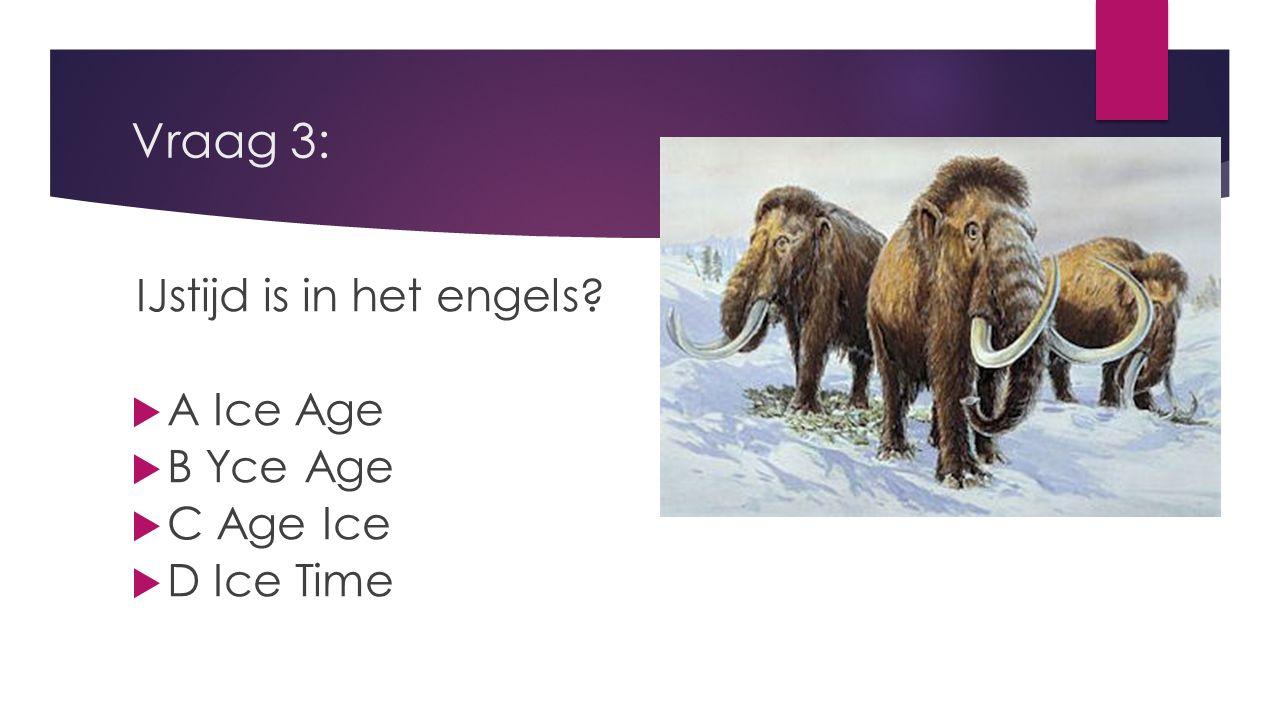 Vraag 2: Graden is in het engels?  A deegrees'  B deagres  C degreese  D degrees