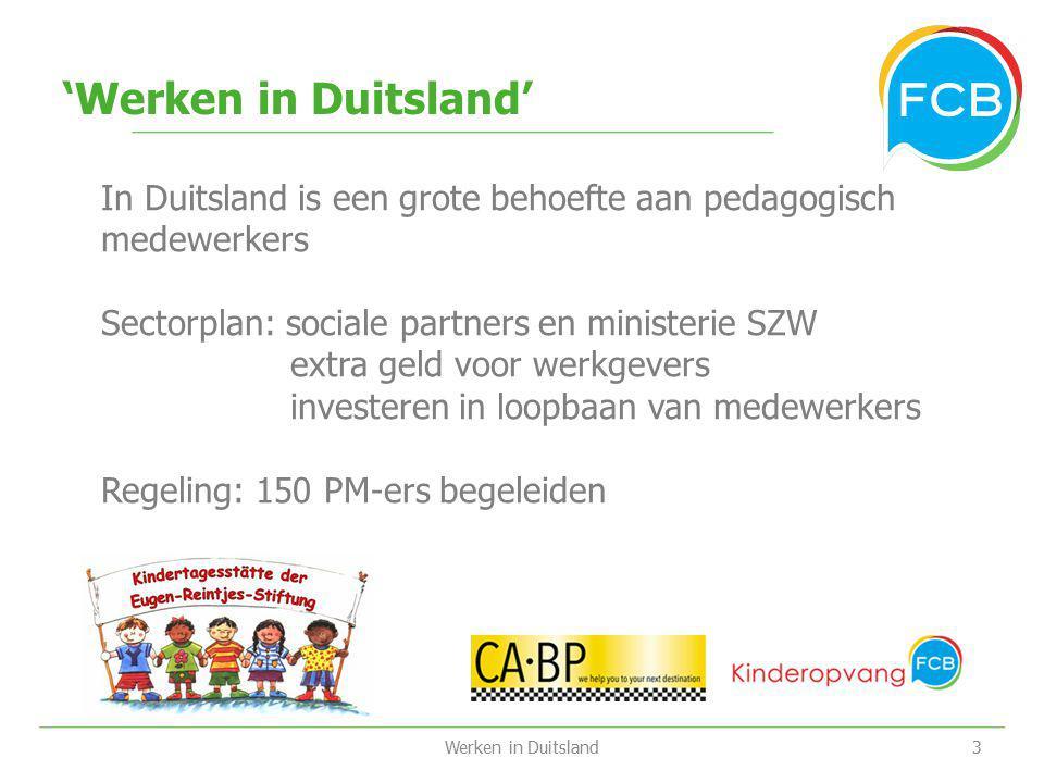 'Werken in Duitsland' Werken in Duitsland In Duitsland is een grote behoefte aan pedagogisch medewerkers Sectorplan: sociale partners en ministerie SZ