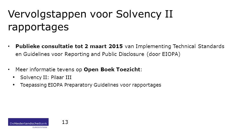 Vervolgstappen voor Solvency II rapportages Publieke consultatie tot 2 maart 2015 van Implementing Technical Standards en Guidelines voor Reporting and Public Disclosure (door EIOPA) Meer informatie tevens op Open Boek Toezicht: Solvency II: Pilaar III Toepassing EIOPA Preparatory Guidelines voor rapportages 13