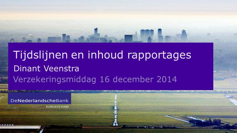 Tijdslijnen en inhoud rapportages Dinant Veenstra Verzekeringsmiddag 16 december 2014