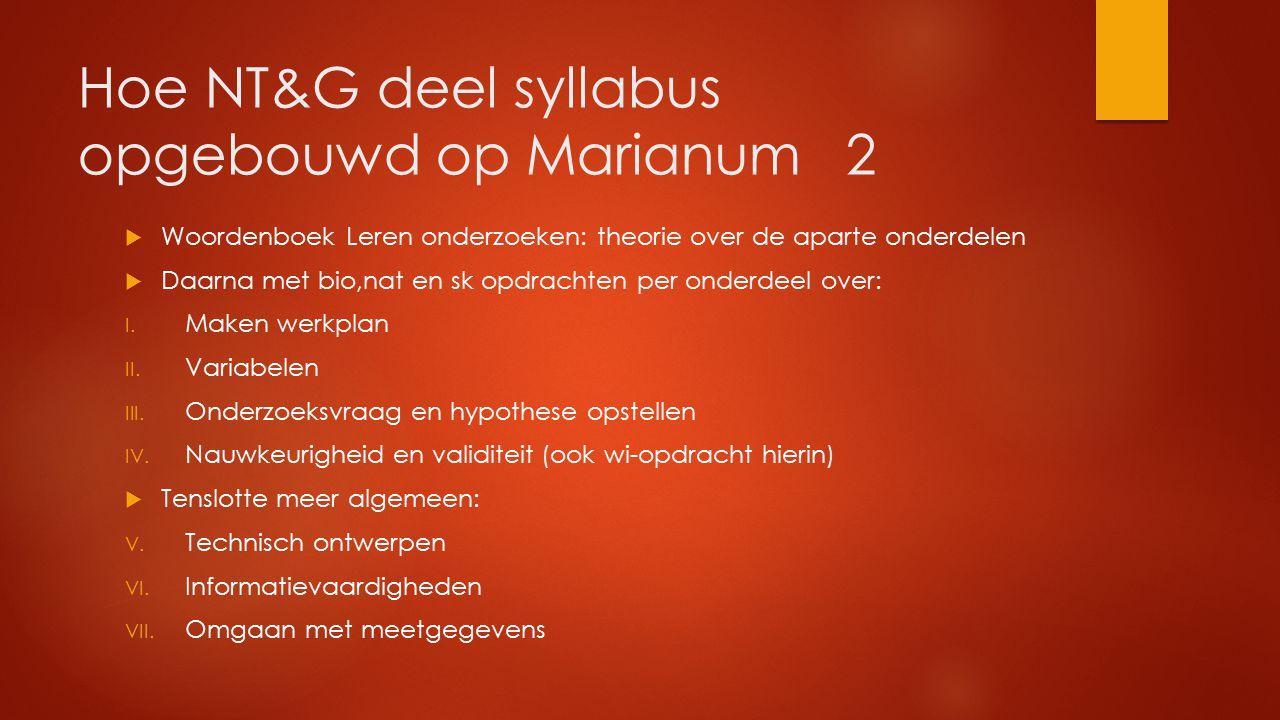 Hoe NT&G deel syllabus opgebouwd op Marianum 2  Woordenboek Leren onderzoeken: theorie over de aparte onderdelen  Daarna met bio,nat en sk opdrachten per onderdeel over: I.