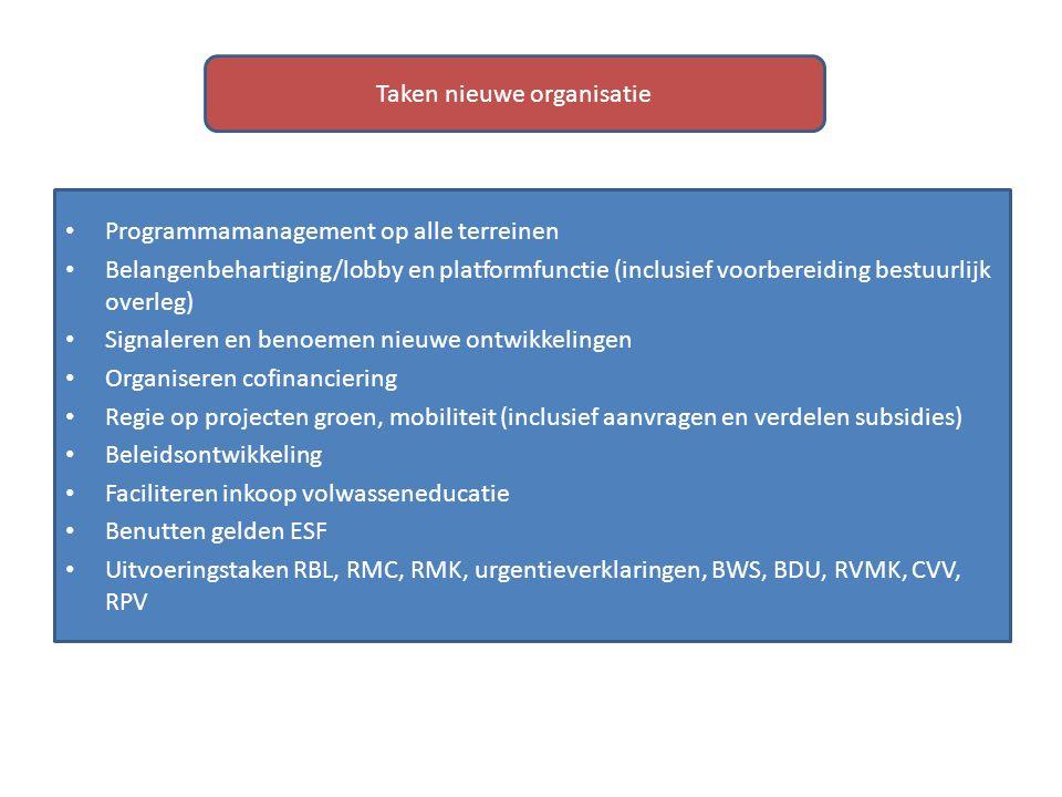 Programmamanagement op alle terreinen Belangenbehartiging/lobby en platformfunctie (inclusief voorbereiding bestuurlijk overleg) Signaleren en benoeme