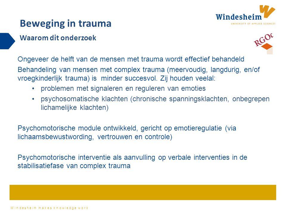 Windesheim makes knowledge work Ongeveer de helft van de mensen met trauma wordt effectief behandeld Behandeling van mensen met complex trauma (meervoudig, langdurig, en/of vroegkinderlijk trauma) is minder succesvol.