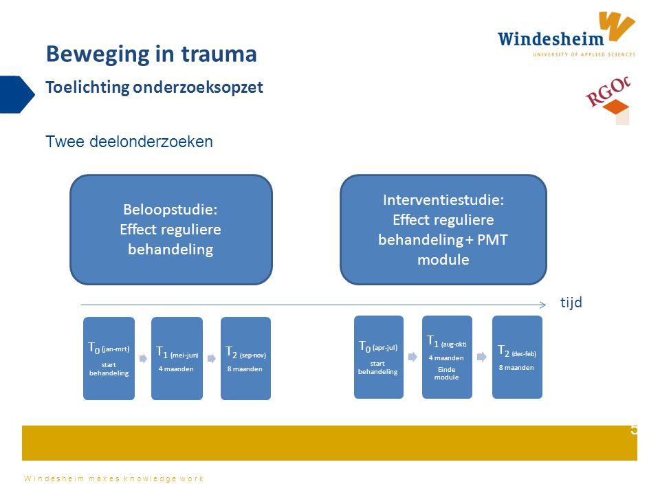 Windesheim makes knowledge work Instellingen: Centrum '45 (Oegstgeest, Diemen), Equator, GGZ Drenthe (Top Referent Traumacentrum Assen en Evenaar Beilen), Altrecht (Top Referent Trauma Centrum Zeist), PsyQ, GGZ Centraal/Transit, GGZ NHN Deelnemers: Alle cliënten (> 18 jaar) aangemeld voor behandeling Inclusie: De intaker geeft de cliënt een envelop met informatiemateriaal en vraagt aan de cliënt diens telefoonnummer in te mogen vullen zodat de onderzoekers telefonisch toelichting kunnen geven op het onderzoek Beweging in trauma Welke cliënten nemen deel aan het onderzoek