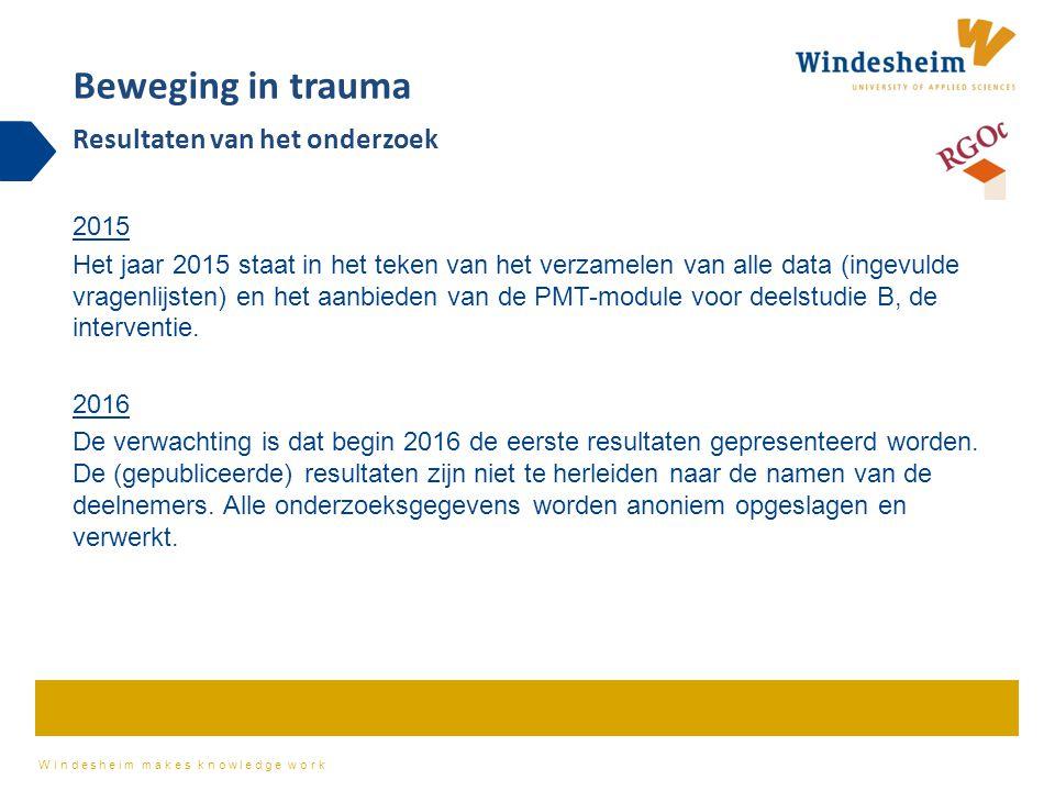Windesheim makes knowledge work 2015 Het jaar 2015 staat in het teken van het verzamelen van alle data (ingevulde vragenlijsten) en het aanbieden van de PMT-module voor deelstudie B, de interventie.