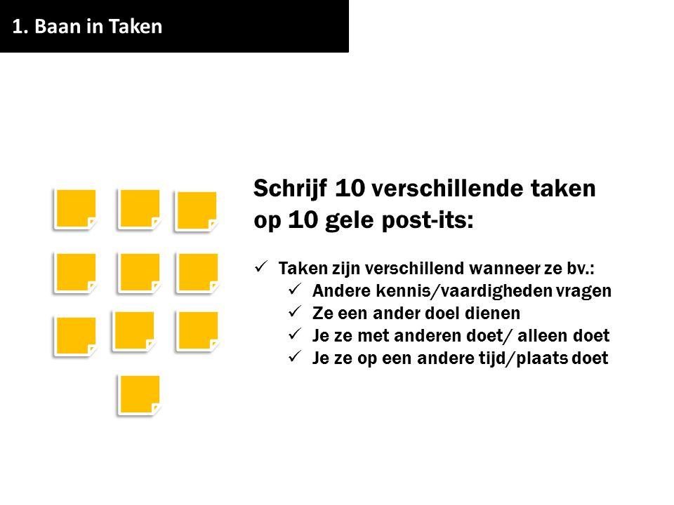 Schrijf 10 verschillende taken op 10 gele post-its: Taken zijn verschillend wanneer ze bv.: Andere kennis/vaardigheden vragen Ze een ander doel dienen
