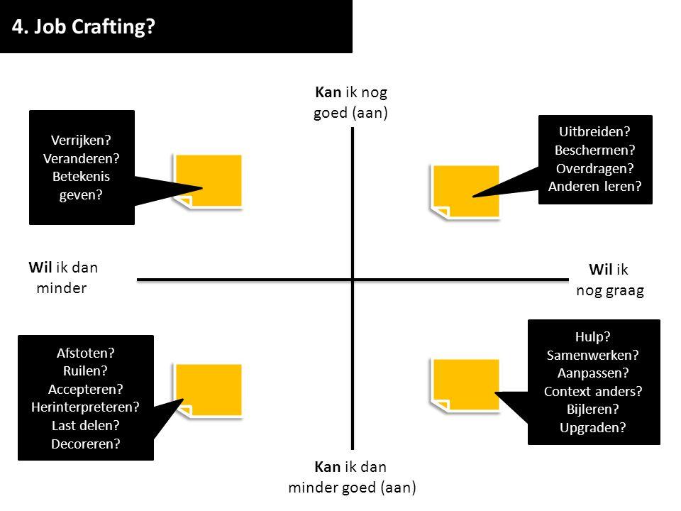 STAP 4: Job Crafting TIJD: 30 min DOEL: Laat mensen een concrete techniek of actie verzinnen waarmee ze een taak of meerdere taken uit het quadrant mooier kunnen maken door eraan te sleutelen.