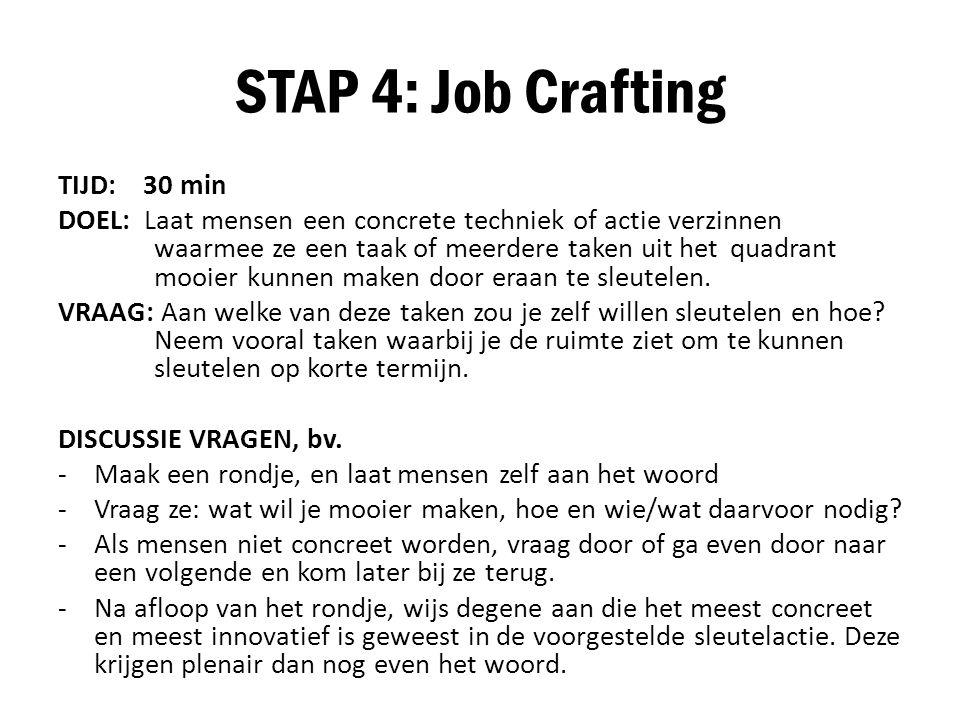 STAP 4: Job Crafting TIJD: 30 min DOEL: Laat mensen een concrete techniek of actie verzinnen waarmee ze een taak of meerdere taken uit het quadrant mo