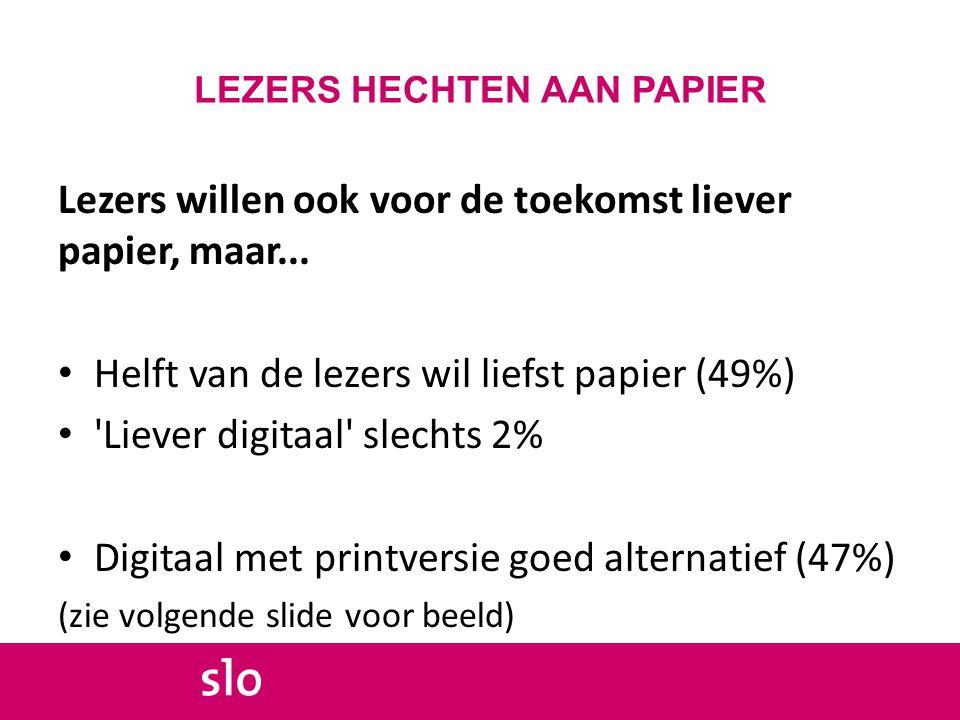 LEZERS HECHTEN AAN PAPIER Lezers willen ook voor de toekomst liever papier, maar...