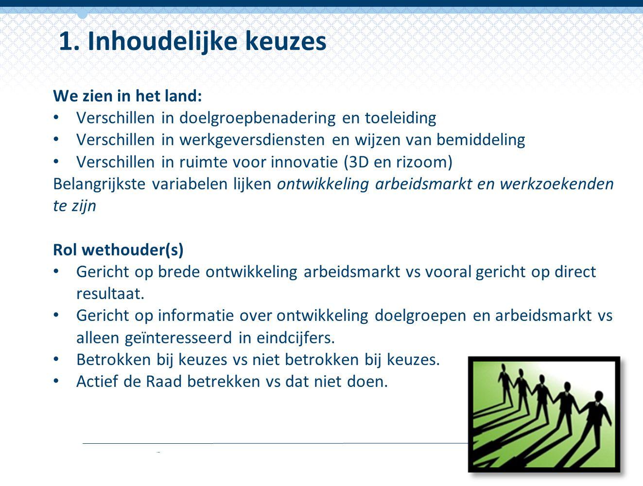 We zien in het land: Verschillen in doelgroepbenadering en toeleiding Verschillen in werkgeversdiensten en wijzen van bemiddeling Verschillen in ruimt