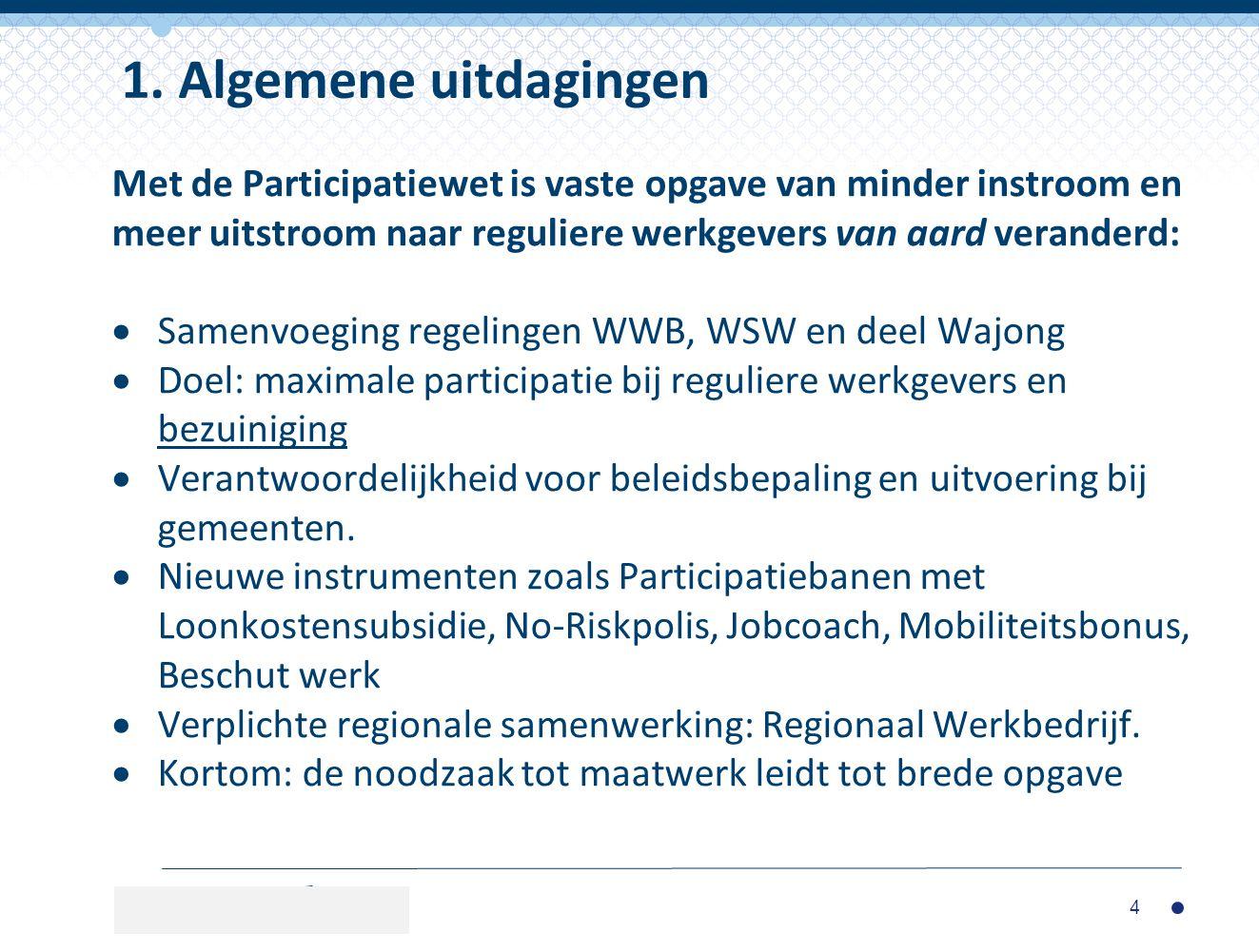 Met de Participatiewet is vaste opgave van minder instroom en meer uitstroom naar reguliere werkgevers van aard veranderd:  Samenvoeging regelingen W