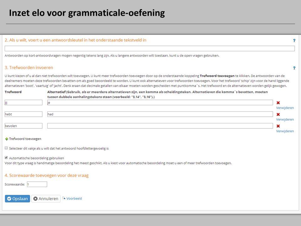 Inzet elo voor grammaticale-oefening