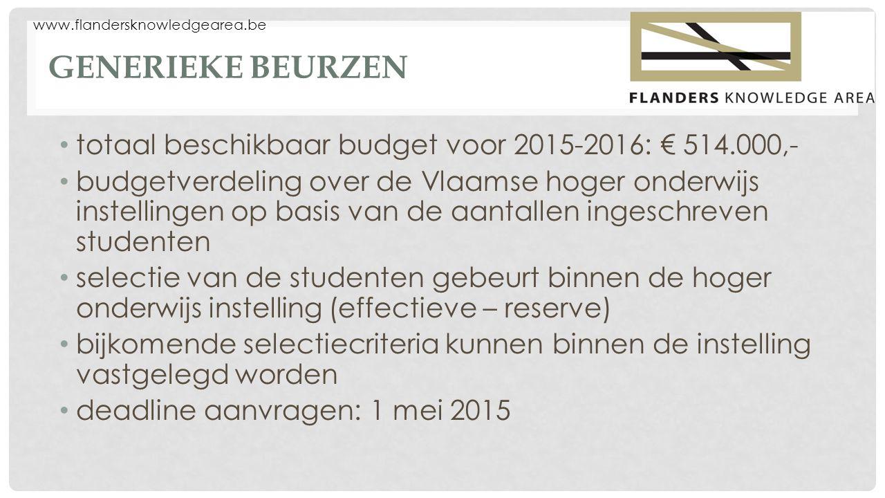 www.flandersknowledgearea.be GENERIEKE BEURZEN totaal beschikbaar budget voor 2015-2016: € 514.000,- budgetverdeling over de Vlaamse hoger onderwijs instellingen op basis van de aantallen ingeschreven studenten selectie van de studenten gebeurt binnen de hoger onderwijs instelling (effectieve – reserve) bijkomende selectiecriteria kunnen binnen de instelling vastgelegd worden deadline aanvragen: 1 mei 2015