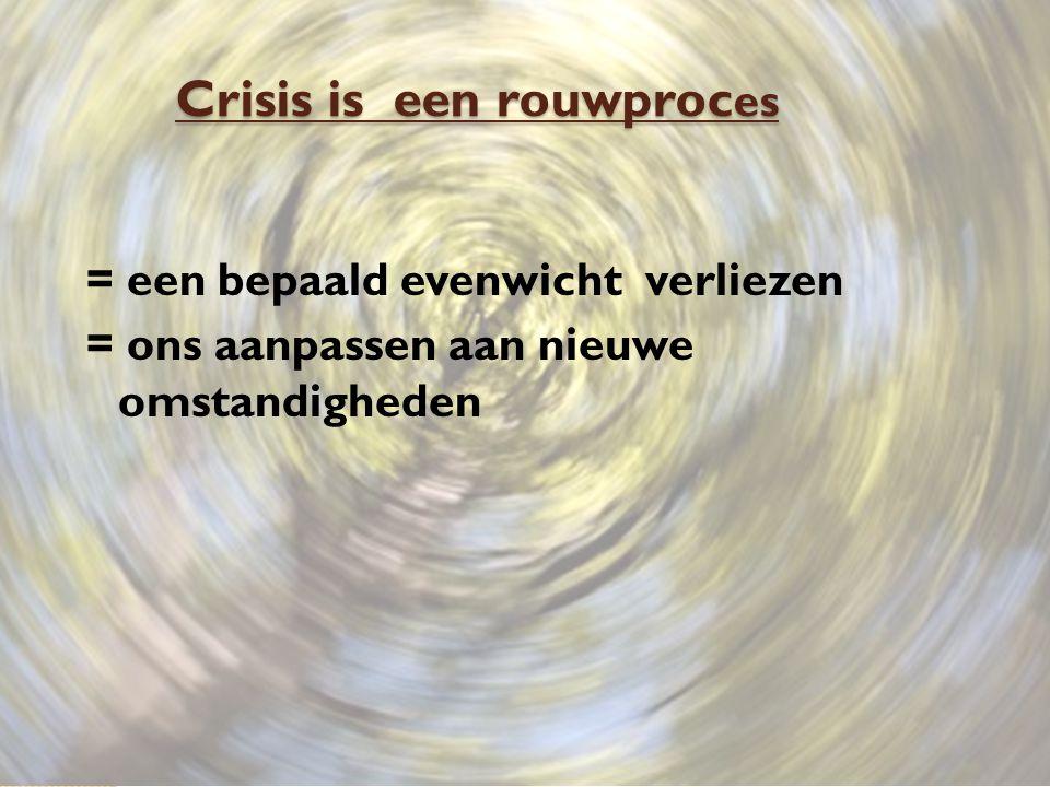 Crisis is een rouwproc es = een bepaald evenwicht verliezen = ons aanpassen aan nieuwe omstandigheden