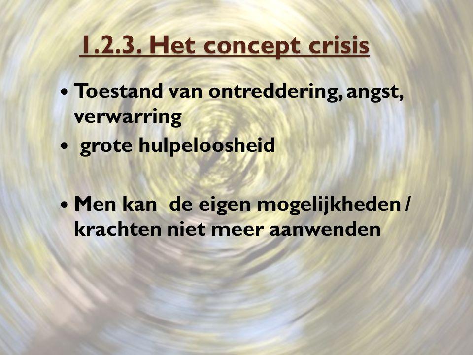 1.2.3. Het concept crisis Toestand van ontreddering, angst, verwarring grote hulpeloosheid Men kan de eigen mogelijkheden / krachten niet meer aanwend