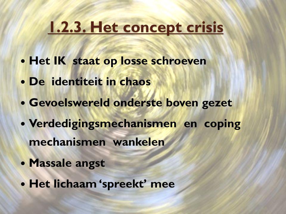 1.2.3. Het concept crisis Het IK staat op losse schroeven De identiteit in chaos Gevoelswereld onderste boven gezet Verdedigingsmechanismen en coping