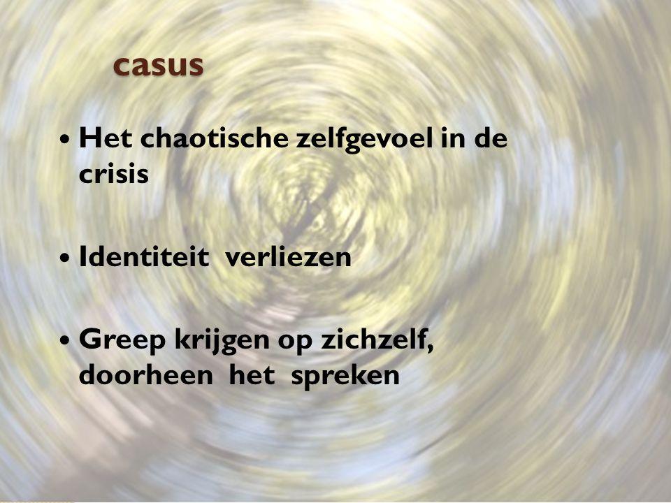 casus Het chaotische zelfgevoel in de crisis Identiteit verliezen Greep krijgen op zichzelf, doorheen het spreken