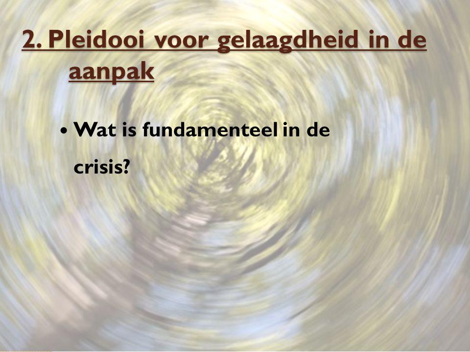 2. Pleidooi voor gelaagdheid in de aanpak Wat is fundamenteel in de crisis?