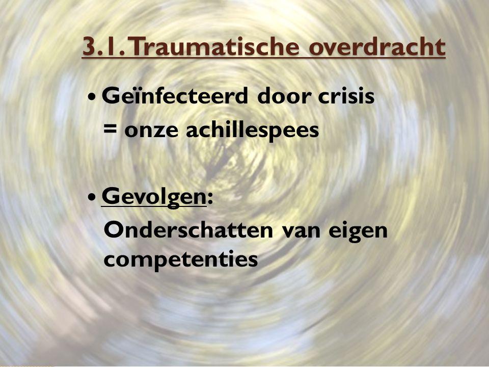 3.1. Traumatische overdracht Geïnfecteerd door crisis = onze achillespees Gevolgen: Onderschatten van eigen competenties