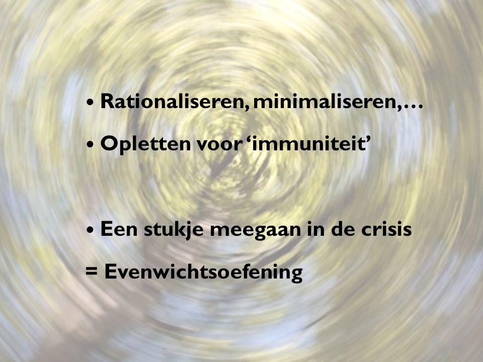 Rationaliseren, minimaliseren,… Opletten voor 'immuniteit' Een stukje meegaan in de crisis = Evenwichtsoefening
