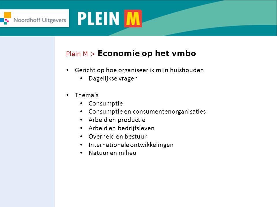 Plein M > Economie op het vmbo Gericht op hoe organiseer ik mijn huishouden Dagelijkse vragen Thema's Consumptie Consumptie en consumentenorganisaties