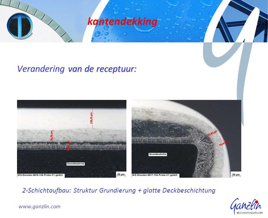van de receptuur: Verandering van de receptuur: kantendekking www.ganzlin.com 2-Schichtaufbau: Struktur Grundierung + glatte Deckbeschichtung