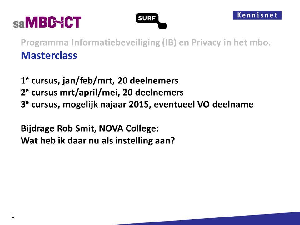Informatiemanagement Programma Informatiebeveiliging (IB) en Privacy in het mbo. L