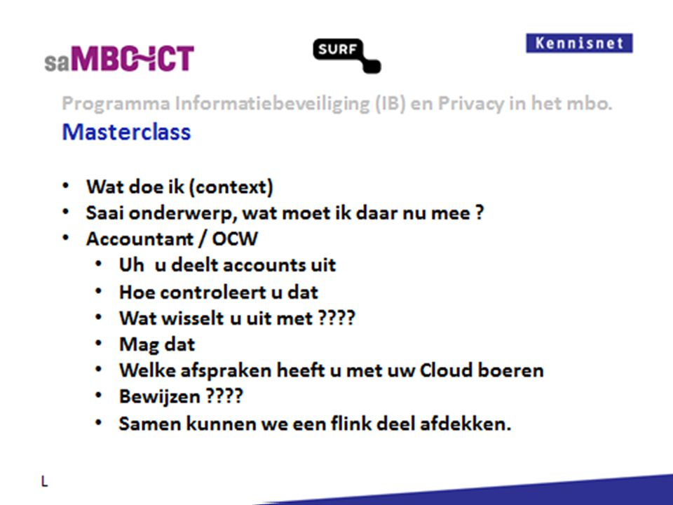 Informatiemanagement Programma Informatiebeveiliging (IB) en Privacy in het mbo. L