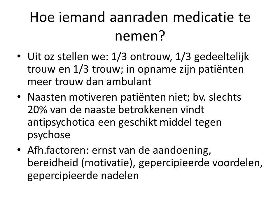 Hoe iemand aanraden medicatie te nemen? Uit oz stellen we: 1/3 ontrouw, 1/3 gedeeltelijk trouw en 1/3 trouw; in opname zijn patiënten meer trouw dan a