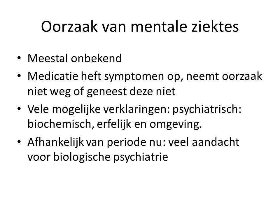 Oorzaak van mentale ziektes Meestal onbekend Medicatie heft symptomen op, neemt oorzaak niet weg of geneest deze niet Vele mogelijke verklaringen: psy