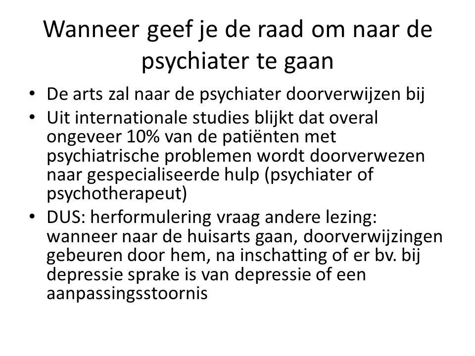 Wanneer geef je de raad om naar de psychiater te gaan De arts zal naar de psychiater doorverwijzen bij Uit internationale studies blijkt dat overal on
